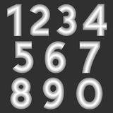 A complete set of numbers made from silver thick wire with a matte surface. Font is isolated by a gray background. Numbers  are ma Stock Images