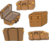 The complete set of old suitcases Stock Photos