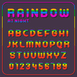 Complete set of rainbow alphabet letters. Complete set of rainbow colored alphabet letters and numbers over dark background, vector illustration Royalty Free Stock Photos