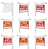 Complete Set of Real Estate Signs with For Sale, Sold, For Sale Royalty Free Stock Photo