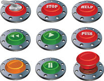 The complete set of switches. The complete set of red and green toggle-switches and buttons Stock Photography