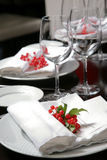 The complete set of utensils. Plate, wine glass, napkin for a celebratory dinner Royalty Free Stock Image