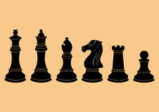Complete set of vector silhouettes chess figures Stock Photography
