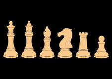 Complete set of vector silhouettes chess figures Royalty Free Stock Image