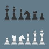 Complete set of vector silhouettes chess Stock Photo
