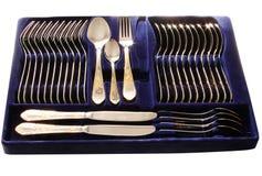 Complete silverware set Stock Photos