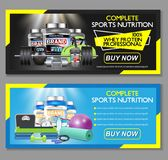 Complete sports nutrition vector banner set. Complete sports nutrition vector horizontal banner set. Sports nutrition supplements whey protein and creatine stock illustration