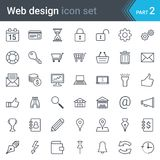 Web design, SEO and development thin line vector icon set isolated on white background. Complete thin line vector icon set of web design, SEO and development Royalty Free Stock Photos