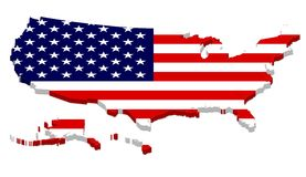 Complete USA Map with Flag Overlay Royalty Free Stock Photo