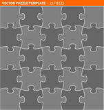Complete vector puzzle / jigsaw template. 25 pieces Royalty Free Stock Photo