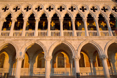 Complete view of Dodge Palace details and yellow shadows, Venice Italy Royalty Free Stock Image