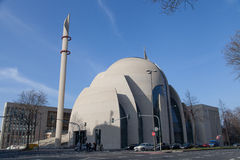 Complete view of the Mosque in Cologne, Germany Royalty Free Stock Images