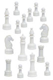 Complete of the white chessmen Stock Photos