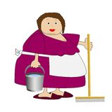 Complete woman with a bucket and mop in hands Stock Photo