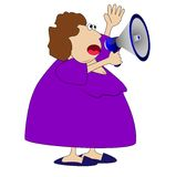 Complete woman, loud in a megaphone Royalty Free Stock Photography