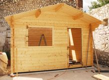Almost Complete Wooden Cabin Royalty Free Stock Photos
