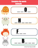 Complete the words children educational game. Animals theme