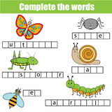 Complete the words children educational game. Insects theme Royalty Free Stock Photos