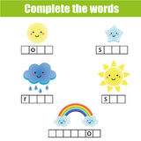 Complete the words children educational game. Weather theme Stock Photos