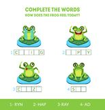 Complete the Words, How Does the Frog Feel Today, Crying, Happy, Crazy, Sad, Matching Game with Cute Amphibian Animal stock illustration