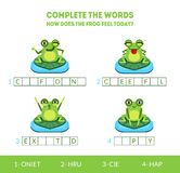 Complete the Words, How Does the Frog Feel Today, Matching Game with Cute Amphibian Animal Character, Educational Game vector illustration
