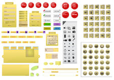 Complete yellow website design element set Royalty Free Stock Photo