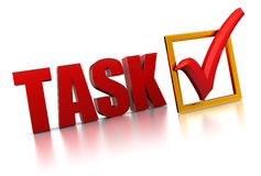 Completed. 3d illustration of text 'task' and checkmark, completed task concept Royalty Free Stock Image