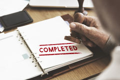 Completed Accomplishment Finished Achievement Concept.  Stock Photo