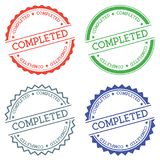 Completed badge isolated on white background. Flat style round label with text. Circular emblem vector illustration Stock Image