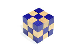 A completed block of Snake Cube Puzzle Game Stock Image