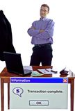 Completed business transaction. Computer message for happy businessman after successful transaction Royalty Free Stock Photography