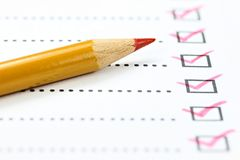 Completed checklist Stock Images