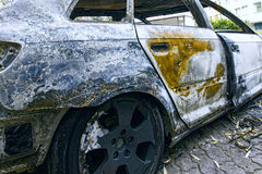 Completely burnt car Royalty Free Stock Image