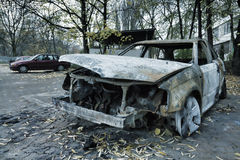 Completely burnt car Stock Images