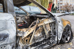 Completely burnt car Stock Photo