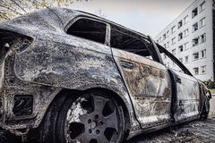 Completely burnt car Royalty Free Stock Photo