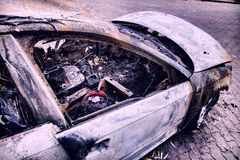 Completely burnt car Stock Image