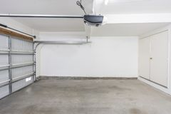 Completely Empty Two Car Garage stock photos