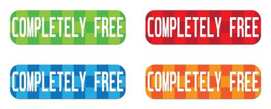 COMPLETELY FREE text, on rectangle, zig zag pattern stamp sign. Stock Photos
