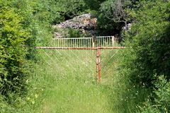 Completely overgrown backyard closed with two rusted metal locked doors royalty free stock photo