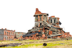 Completely ruined brick building Stock Image