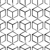 Completely seamless, abstract cube pattern. Black and white design, geometric 3d background. Drawing brush and chalk Royalty Free Stock Photo