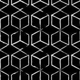 Completely seamless, abstract cube pattern. Black and white design, geometric 3d background. Drawing brush and chalk Royalty Free Stock Images