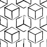Completely seamless, abstract cube pattern. Black and white design, geometric 3d background. Drawing brush and chalk Stock Photo