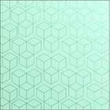 Completely seamless, abstract cube pattern. Light cheerful fresh green geometric 3d vector wallpaper, cube pattern background Stock Images