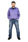 Ente completo dell'uomo casuale sopra bianco Fotografie Stock Libere da Diritti