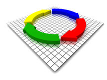 Completing the circle (XXL). XXL 3D render of four arrows, completing a circle Royalty Free Stock Images