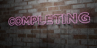 COMPLETING - Glowing Neon Sign on stonework wall - 3D rendered royalty free stock illustration Stock Images