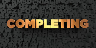 Completing - Gold text on black background - 3D rendered royalty free stock picture Stock Photo