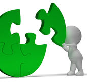 Completing Jigsaw Showing Solution Completing Or Achievement stock illustration